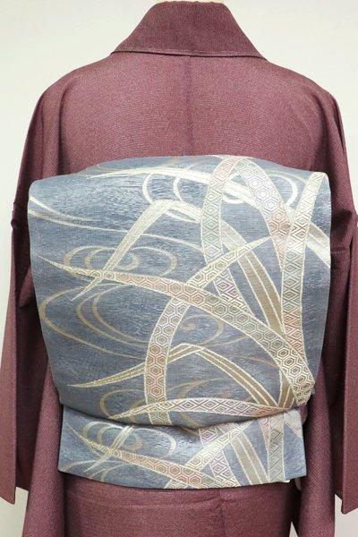 あおき【L-2825】紗 袋帯 灰青色 流水に葦の図