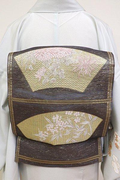 あおき【L-2830】紗 袋帯 淡い褐色 地紙に南天や菊の図