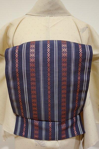 【K-4178】博多織 紗献上 開き八寸名古屋帯 濃紺色×銀朱色