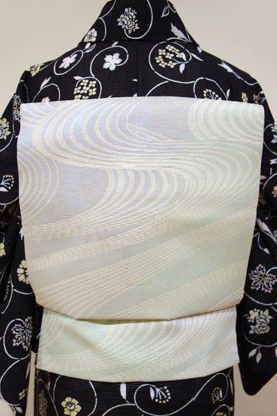 あおき【K-4194】紗 織名古屋帯 淡藤色×浅緑色 流水文(未使用)