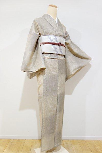 あおき【A-2059】(S・広め) 西陣織 紋紗 着物 白橡色 細縞や唐草の市松(しつけ付)