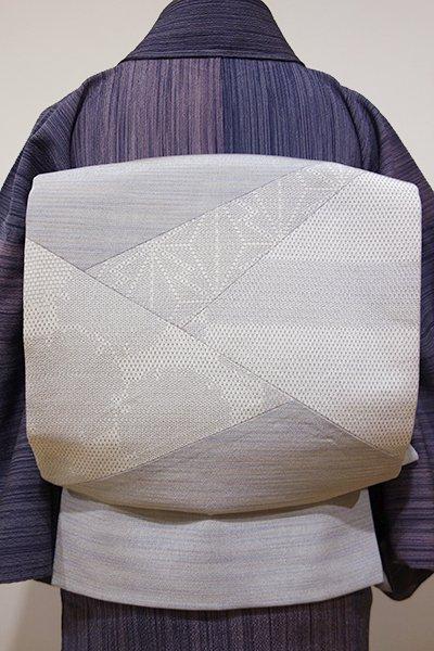 あおき【L-2856】本塩沢 やまだ織 洒落袋帯 白鼠色 麻の葉や雪輪の切嵌め(反端付)