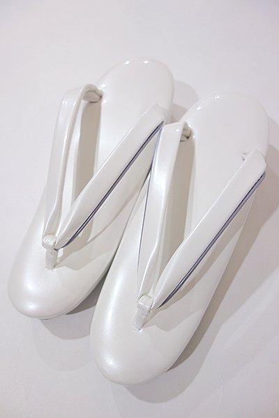 あおき【G-787】ウェーブ草履 白色×銀鼠色 Mサイズ 低め(新品・未使用)