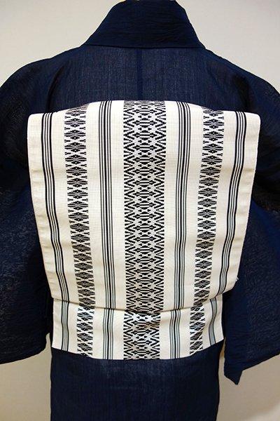 あおき【K-4266-2】本場筑前博多織 紗献上 八寸名古屋帯 白練色×黒色(証紙付)(N)