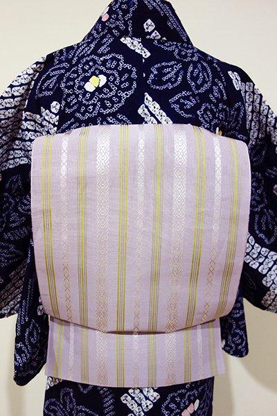 あおき【K-4267】博多織 紗献上 八寸名古屋帯 半色×柳茶色