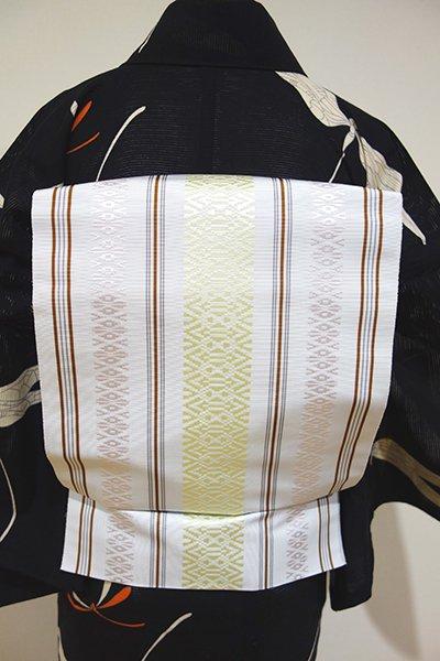 あおき【K-4276】本場筑前博多織 八寸名古屋帯 月白×白緑×薄桜 献上柄(証紙付)(N)