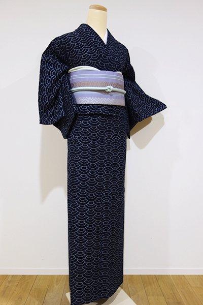WEB限定【A-2085】↑Sサイズ↓→ホッソリ←単衣 木綿地 紬 濃藍色 青海波