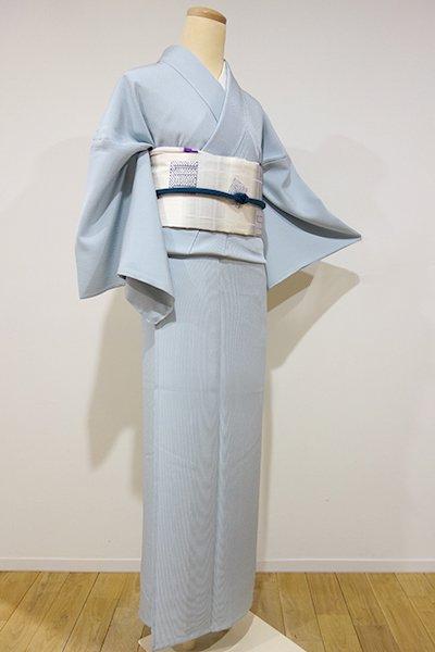 銀座【C-1121】単衣 江戸小紋 万筋 水色 (新品・しつけ付)