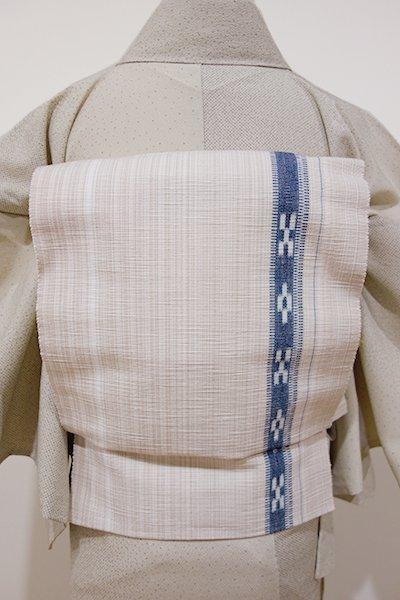 銀座【K-4296】ミンサー織 八寸名古屋帯 練色×濃藍色 絣文 (証紙付)
