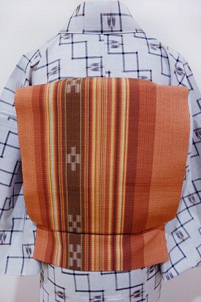 WEB限定【K-4425】ミンサー織り 八寸名古屋帯 肉桂色 絣文(未使用)