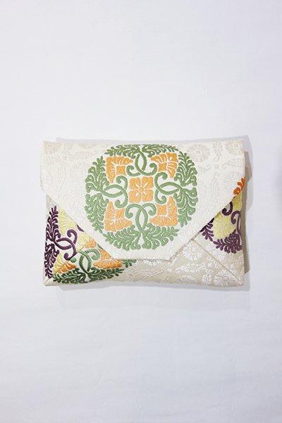 【G-812】数寄屋袋 人間国宝 喜多川平朗作 帯地 白練色×緑色 有職丸文 (未使用)