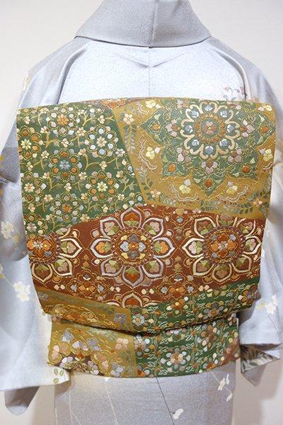 あおき【L-3033】総刺繍 袋帯 榛色×海松色×鳶色 唐花文の切嵌め風