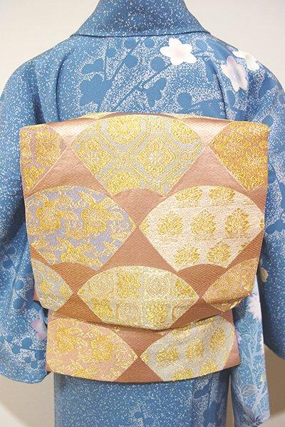あおき【L-3038】西陣 河村織物製 袋帯 ときがら茶色 扇面に有職文(落款入)