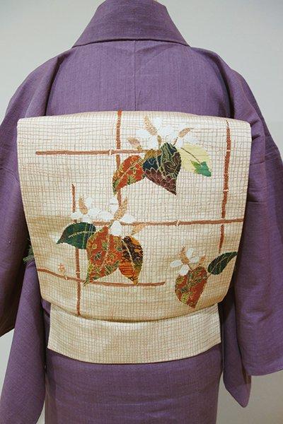 WEB限定【L-3048】洒落袋帯 砥粉色 垣根にどくだみの図