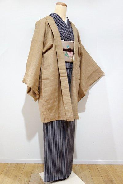 世田谷【E-699】紬地 羽織 柴染色 ナチュラルな横段