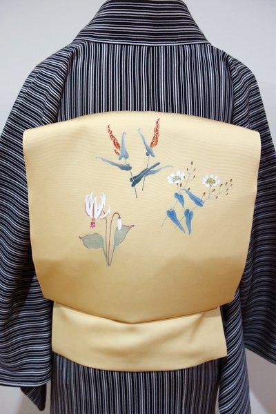 WEB限定【K-4461】塩瀬地 染名古屋帯 卵色 野の花の図