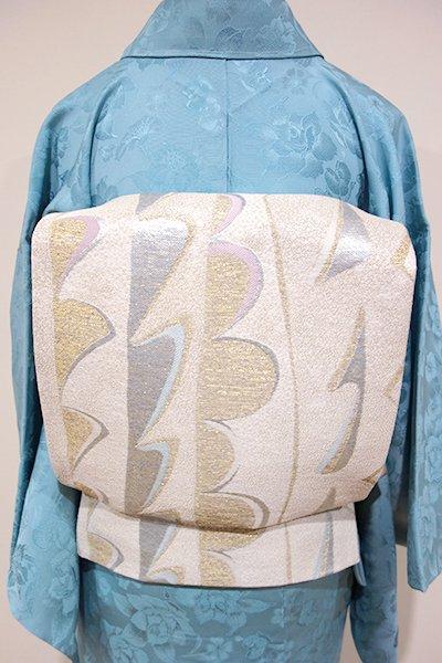 あおき【L-3058】袋帯 白練色 抽象文