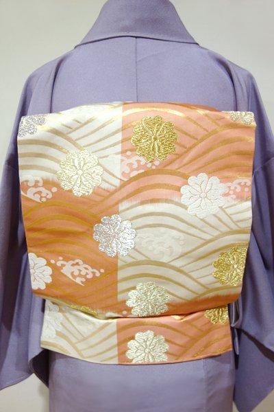 WEB限定【K-4475】織名古屋帯 白練色×東雲色 変わり段 波に桜の図