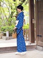 銀座【着物2001】城間栄順作 藍型 着物 (しつけ付・証紙付・端布付)