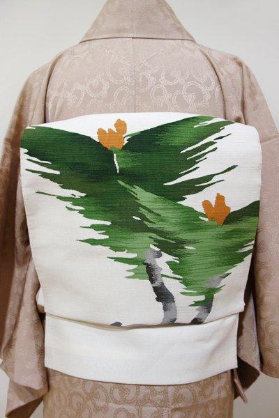 WEB限定【K-4482】本綴れ 八寸名古屋帯 白練色 霞暈かしに松の図