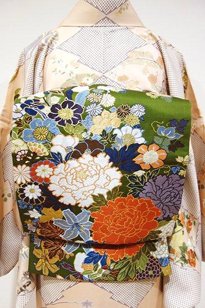 あおき【L-3083】西陣製 袋帯 苔色 花々の図(証紙付)