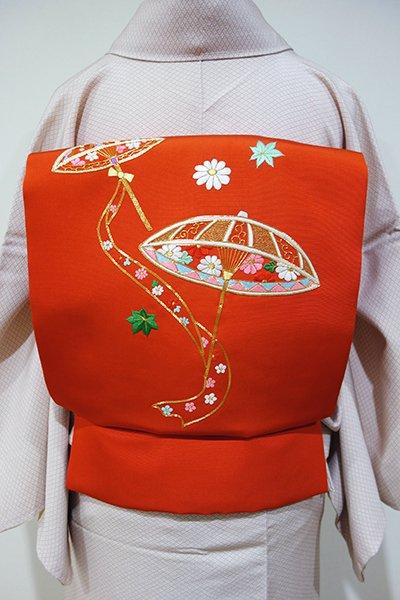 WEB限定【K-4492】塩瀬 刺繍 名古屋帯 緋色 傘の図