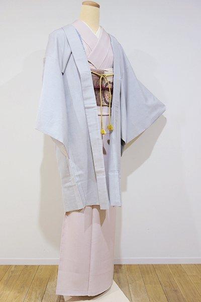 世田谷【E-707】大島紬地 羽織 白練色 亀甲絣(羽織紐付)