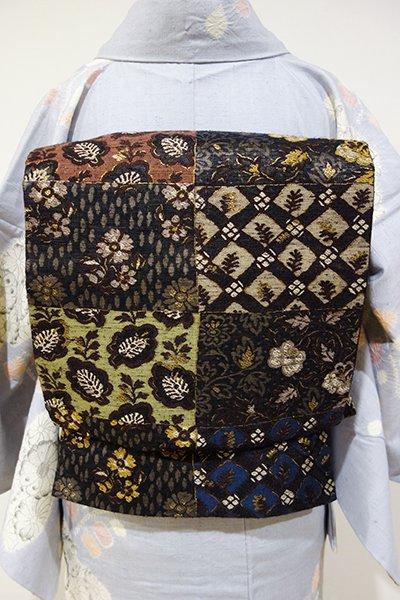 あおき【L-3108】洒落袋帯 黒色 市松に更紗文