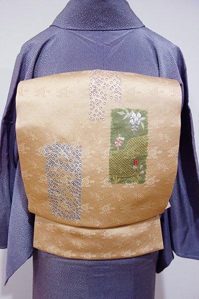 世田谷【K-4521】絞り染め 開き名古屋帯 伽羅色 短冊に疋田や花の図