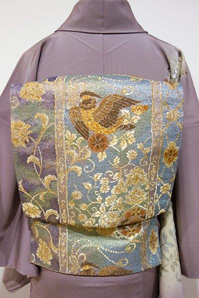 WEB限定【L-3155】袋帯 秘色色系 更紗花に鳥の図