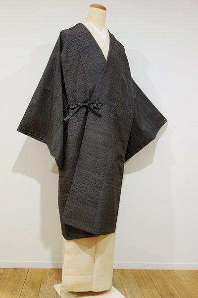 世田谷【E-730】塩沢紬 道中着 黒色 細やかな亀甲絣(証紙付・しつけ付)
