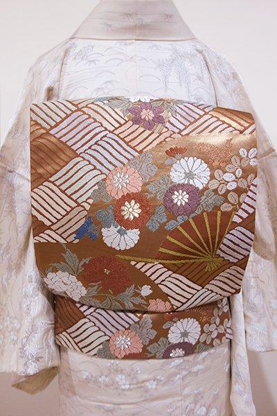 WEB限定【L-3169】唐織り 袋帯 江戸茶色 扇に四季花の図
