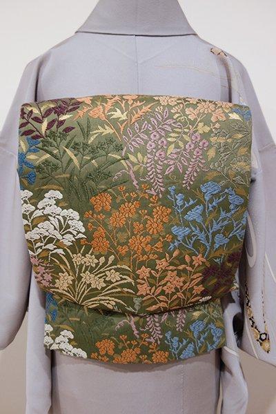 WEB限定【L-3170】唐織り 袋帯 柳茶色 春秋の花の図