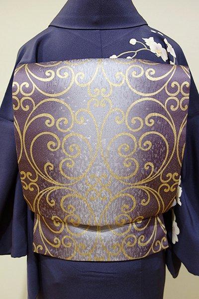 WEB限定【L-3175】袋帯 紫苑色 竪暈かしに装飾文
