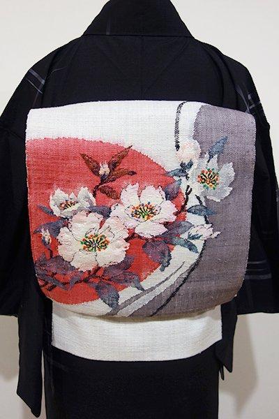 世田谷【K-4550】紬地 織八寸名古屋帯 白練色 椿の図