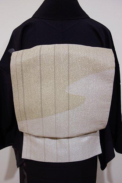 WEB限定【L-3182】袋帯 金色×銀色 竪縞に流線