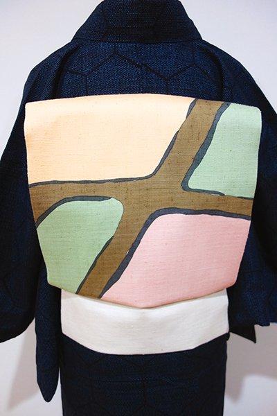 世田谷【K-4568】紬地 染名古屋帯 白練色 おおらかな抽象文