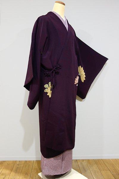 世田谷【E-748】絵羽 道中着 縮緬地 紫紺色 菊の図