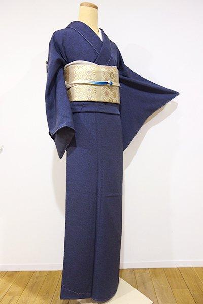 銀座【C-1195】(広め)六谷博臣型彫 伊勢型小紋 藍鉄色 鶴亀(落款入・しつけ付)