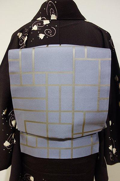 WEB限定【L-3256】洒落袋帯 暗い青藤色系 幾何文(落款入)
