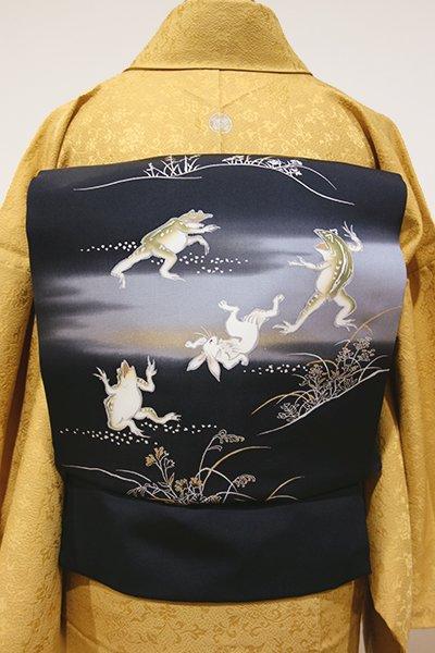 WEB限定【K-4599】塩瀬地 染名古屋帯 蝋色 鳥獣戯画図(N)