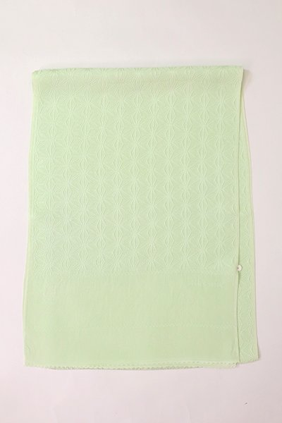 【R-403】正絹 綸子帯揚げ 白緑色