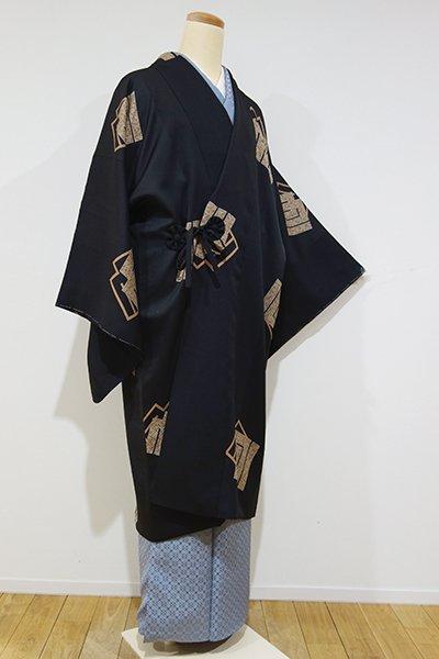WEB限定【E-781】道中着 黒色 源氏香の図(新品・しつけ付)