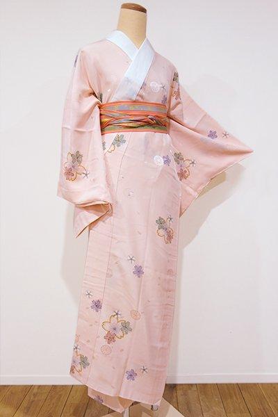 世田谷【F-256】長襦袢 淡い一斤染色 桜の図