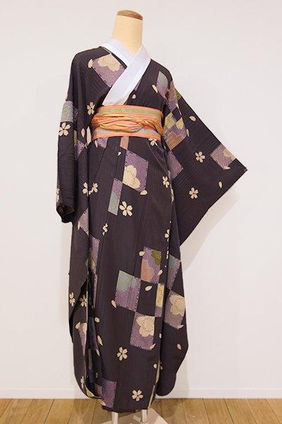 世田谷【F-257】振袖用 長襦袢 黒鳶色 市松に桜の図