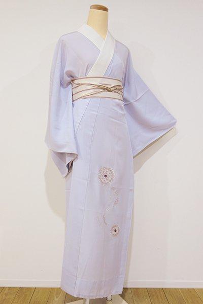 銀座【F-260】刺繍 長襦袢 白菫色 流線に華文