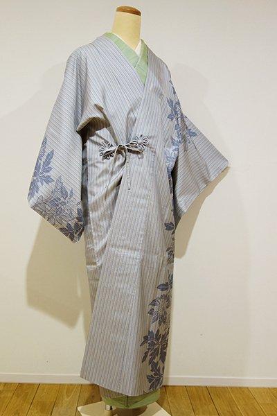 銀座【E-787】大島紬地 道中着 月白色 縞に花の図(証紙付)