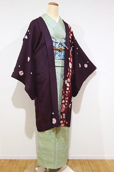 銀座【E-788】絞り染め 羽織 似せ紫色×弁柄色 辻が花文(羽織紐付)