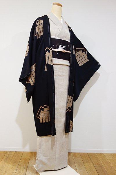 銀座【E-791】羽織 黒色 源氏香の図(新品・しつけ付)