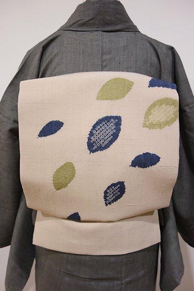 世田谷【K-4616】紬地 絞り染め 名古屋帯 練色 葉の図